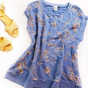 AKEMI + KIN Anthropologie Sequin Embroidered Top